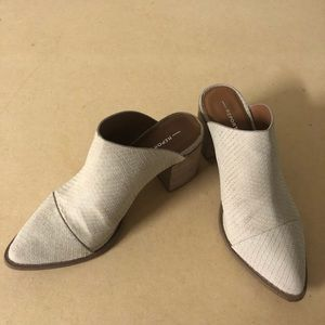 Tosh Stone Snake Embossed Pointed Toe Mules size 6